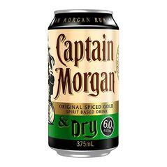 Captain Morgan Original Spiced Gold & Dry Ginger Ale Cans 375ml - Pack of 24